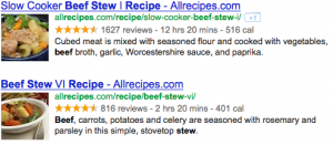 Recipes rich snippet